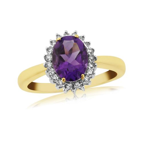 Amethyst Oval Cut 9 Carat Yellow Gold Cluster Ring